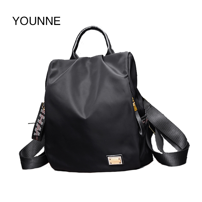 YOUNNE Women Small Waterproof Nylon Fashion Black Shoulder Bag Prepyp Style Backpack For Teenage Girl Solid Color Zipper
