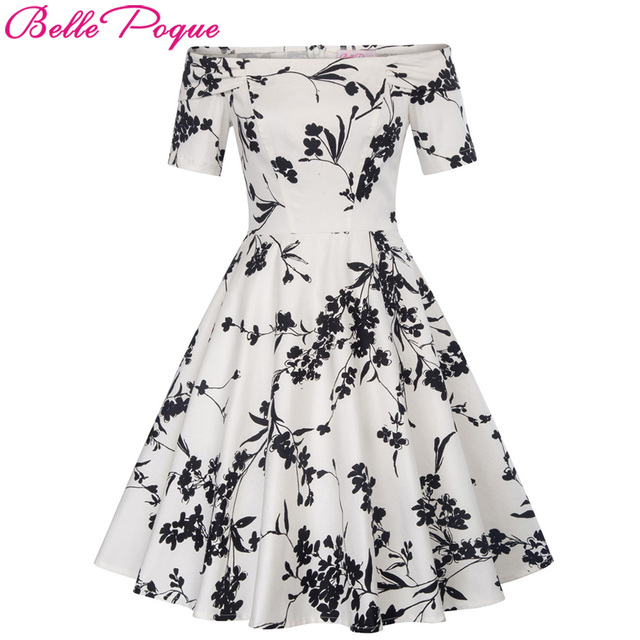 Women Summer Dress 2018 Off Shoulder Floral robe Retro Party Dresses Cotton  Skater Casual 50s Vintage Rockabilly Dress Vestidos 774dae12ef95
