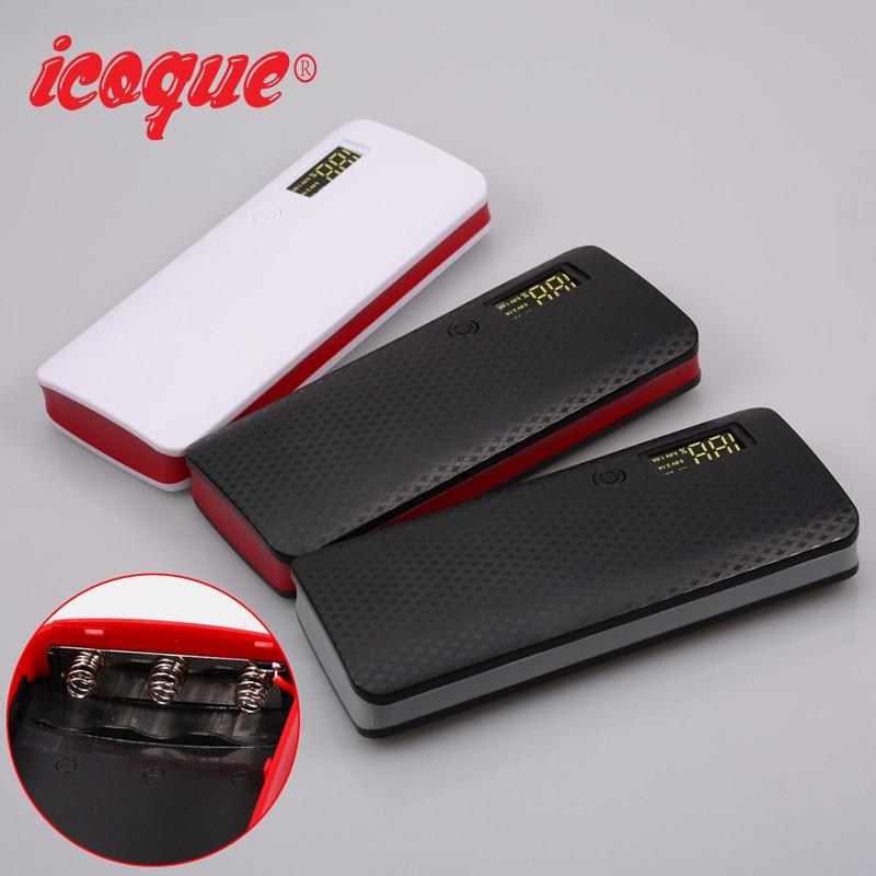 (No Battery)icoque 5V Dual USB 5*18650 Power Bank Box Poverbank Mobile Phone