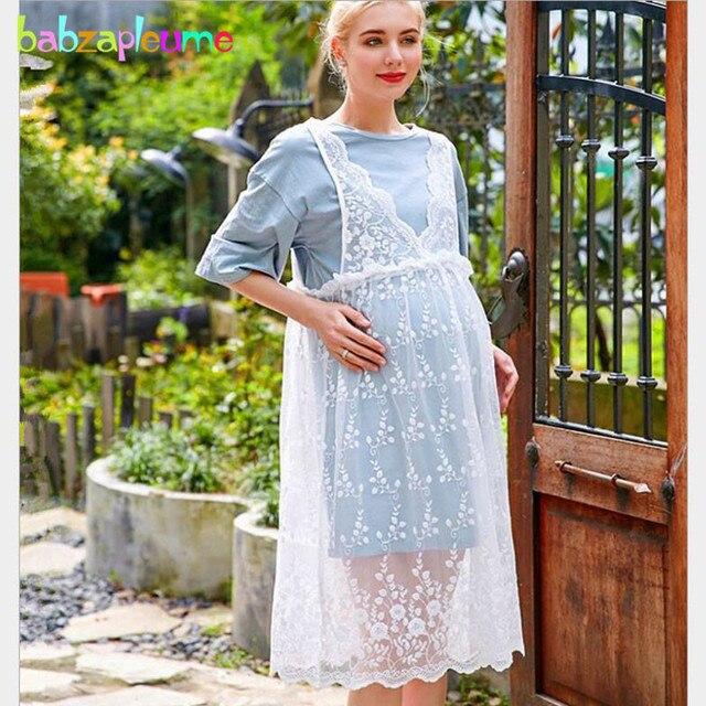 e9350c425d8 2 Piece Summer Fashion Pregnancy Clothes Lace White Long Dress+Cotton  T-shirt Maternity Dresses Pregnancy Clothing Sets BC1257-1