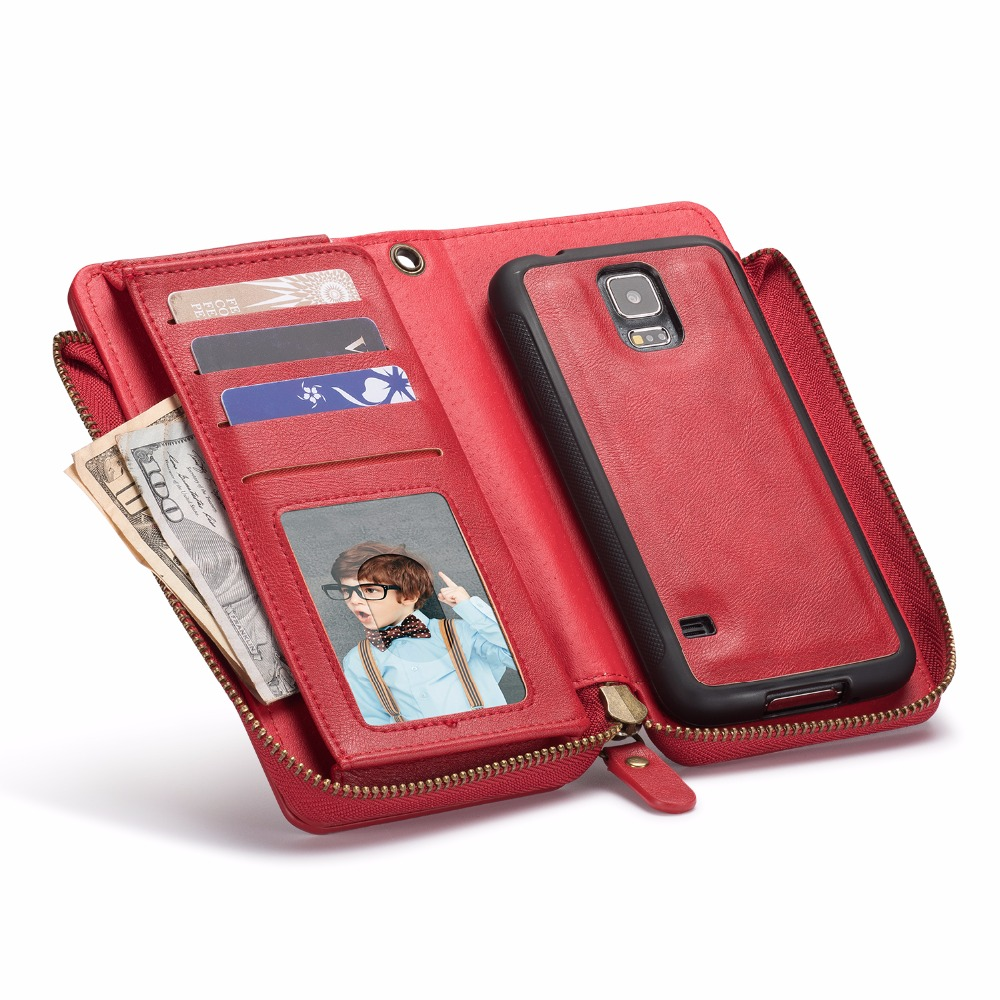 Zipper Retro Vintage Wallet Leather Case for Samsung Galaxy S5 Phone Case Wallet Cell Phone Cover Card Slot