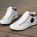 Para mujer Blanco 2016 Zapatos Transpirables de Alta superior Al Aire Libre Casual Zapatos de Las Mujeres aumento de la Altura Zapatos de Lona Suela Gruesa Summer Entrenadores
