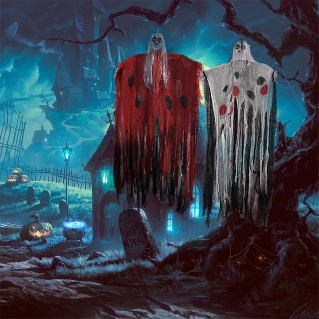 100cm Halloween Hanging Voice Electric Induction Ghost Haunted House Hanging Reaper Horror Props Home Door Bar Club Decorations