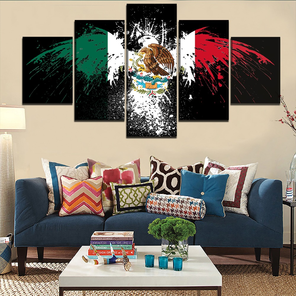 Home Decor Room Framework Artworks 5 Pieces Abstract Flag Of Mexico Pictures Canvas HD Prints Painting Modular Poster Wall Art in Painting Calligraphy from Home Garden
