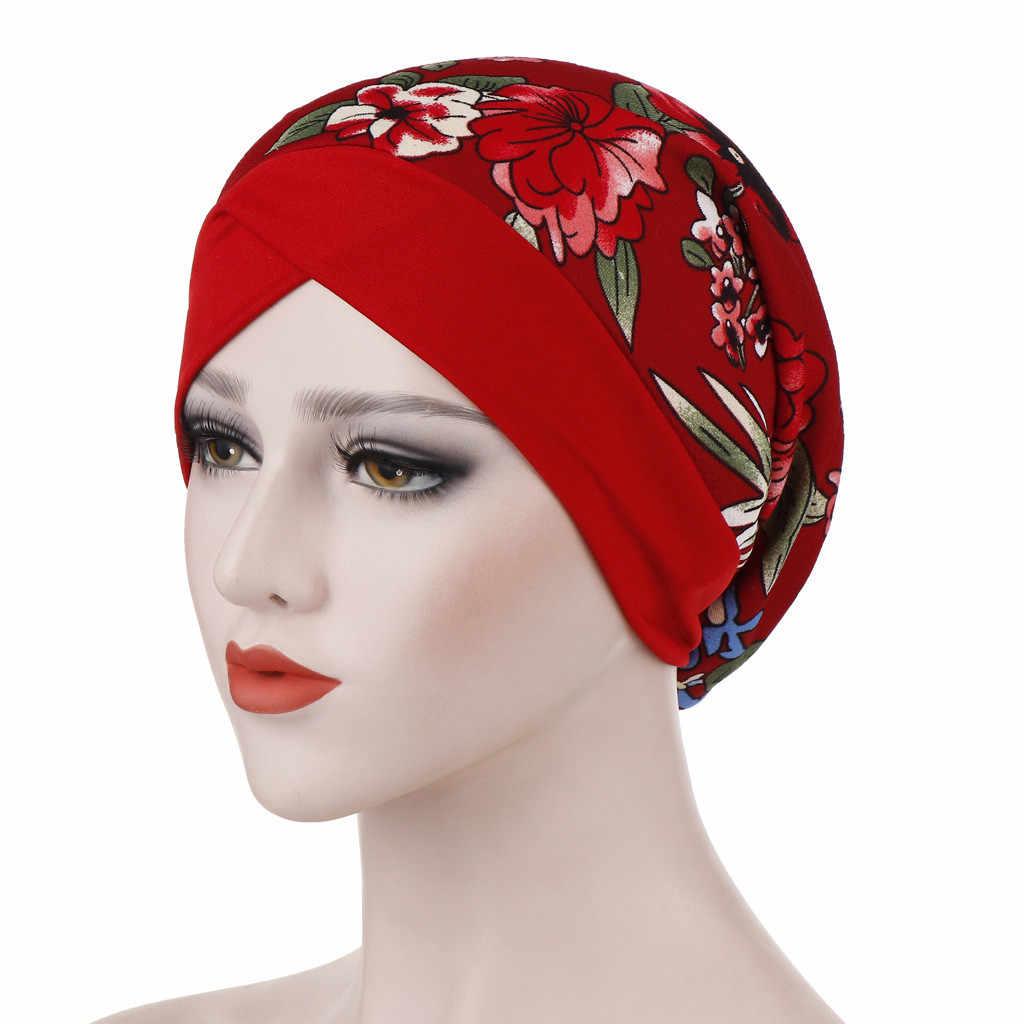 De las mujeres de la moda Floral impreso India sombrero chapeau femme musulmán de cáncer quimio sombrero turbante de tapa Femme Musulman