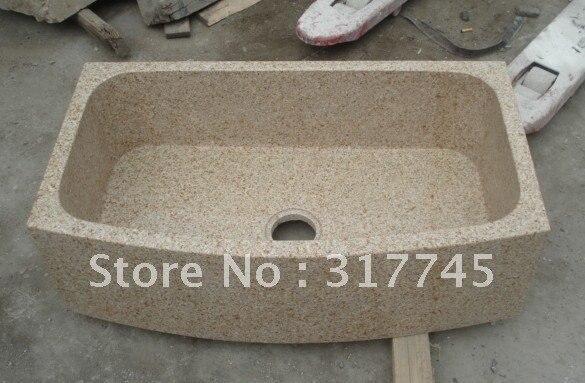 Beige Granite Stone Farm Sinks Lowerst Price With Man Make Artworking Kitchen Bathroom Sink