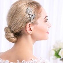Miallo Elegant Art Deco Rhinestones Wedding Hair Comb Crystal Bridal Hair Piece Hair accessories in Leaves shape