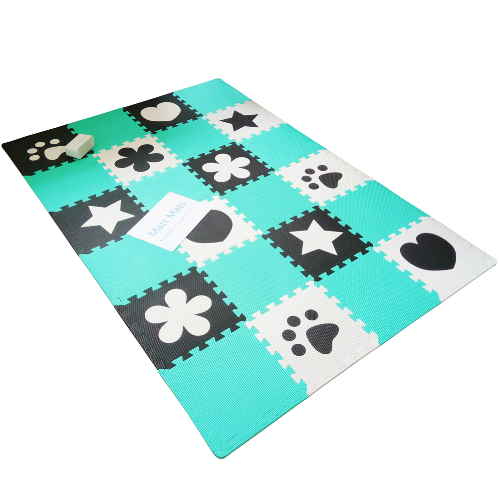 Matt Mats 9pcs Kids Play Mat EVA Foam Baby Puzzle Mat GreenBlue Black White Color Soft Crawling Playmat Floor Carpet Game Rugs