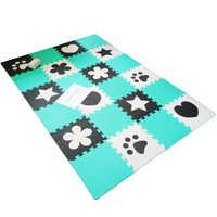 Matt Mats 9pcs Kids Play Mat EVA Foam Baby Puzzle Mat GreenBlue Black White Color Soft Crawling Playmat Floor Carpet Game Rugs