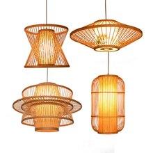 China Retro Wood E27 Bulb Pendant Light Lighting Loft Home Interior Decoration Bamboo Wooden Lamp Luminaire Hanging
