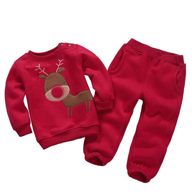 16 cores! Crianças Outfits Treino cervos Do Natal Roupas meninas do bebê Moletom Com Capuz + Calças Miúdo dos desenhos animados Terno Do Esporte Meninos fleece conjunto