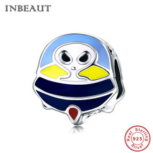 INBEAUT Hot Sale 925 Sterling Silver Alien Charm fit Trendy Bracelet Blue&Yellow Enamel Spacecraft Beads Necklace Accessories