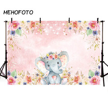MEHOFOTO Girl Elephant Baby Shower Backdrop Pink Floral Birthday Photography Background for Photo Studio