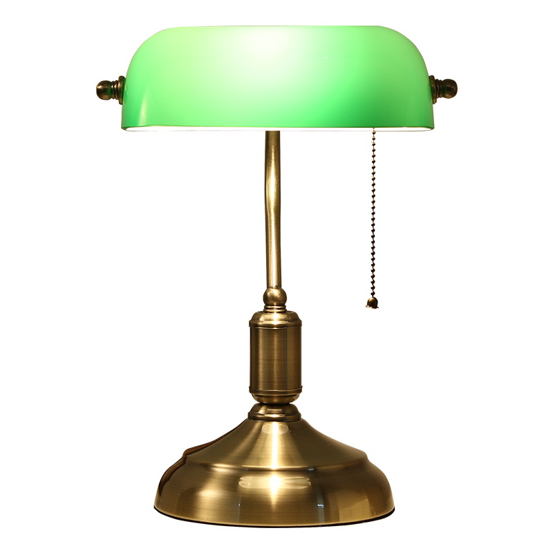 "Classical glass desk lamp Traditional Banker's Lamp, 14"" High, Brass Base with Green Shade antique table lamp living room"