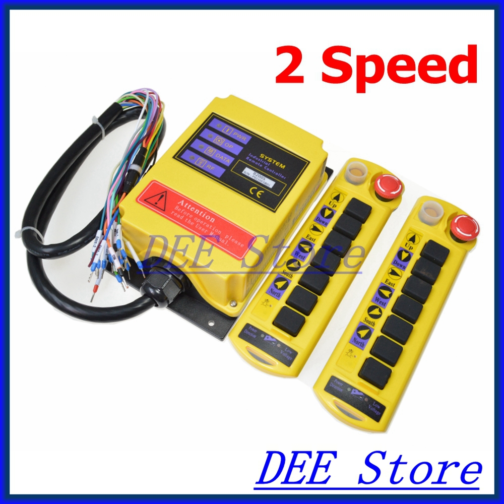 Free Shipping 2 Speed 2 Transmitters Control Hoist Crane Radio Remote Control Push Button Switch System Controller with E-stop free shipping 6 channel 1 speed 2 transmitters hoist crane truck radio remote control push button switch system with e stop
