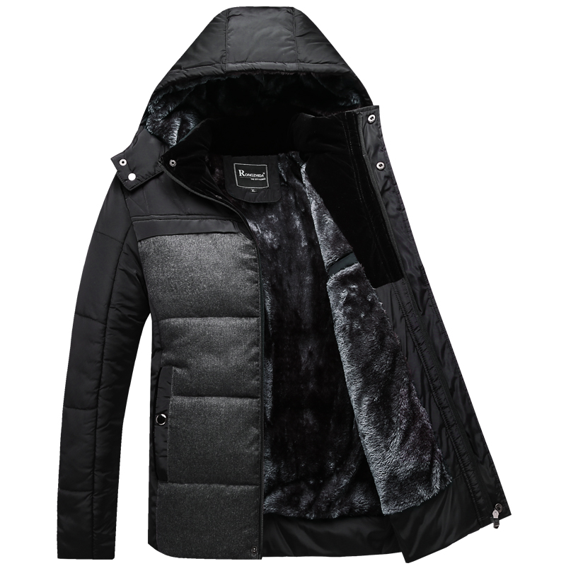 Winter Coat Men black puffer jacket warm male overcoat parka outwear cotton padded hooded down coat