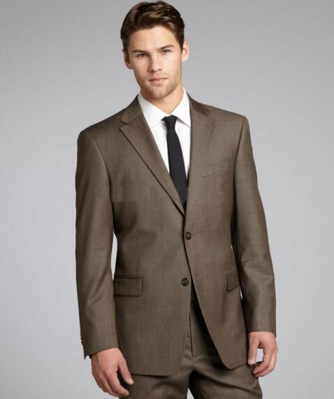 Brown Sharkskin Men Suit Custom Made Grey Two-Toned Woven Wedding Tuxedos For Men,Bespoke Vintage Blazer Gray Wedding Tuxedo