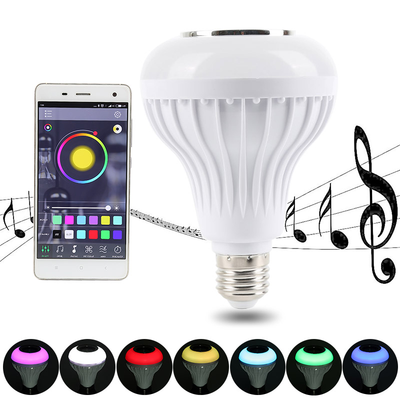 Oobest bluetooth Speaker E27 LED RGB Light Music Mini Smart LED Audio Speaker Bulb Lamp Color Changing via phone App smart bulb e27 led rgb light wireless music led lamp bluetooth color changing bulb app control android ios smartphone