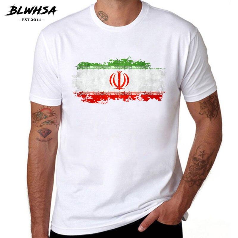 BLWHSA Iran Flag Printing T Shirt Men Casual Short Sleeve Cotton Summer Funny T-shirts Fashion Iranian Flag Tops Tees