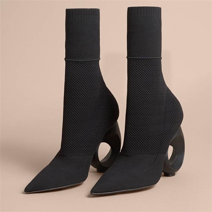 Взлетно-посадочной полосы Стиль Черный Бежевый выдалбливают Необычные ботильоны на каблуках острый носок слипоны Для женщин трикотажные С...