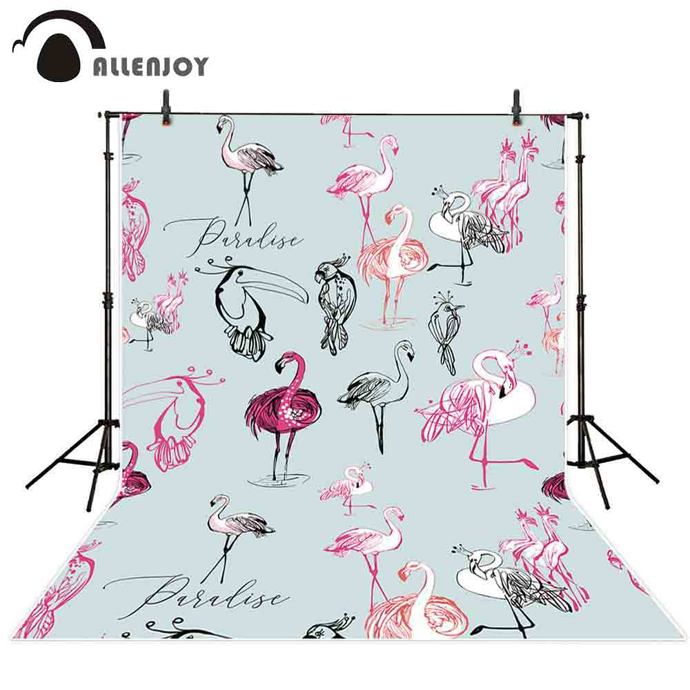 US $9 31 33% OFF|Allenjoy professional photography background parrot toucan  flamingo black pink hand drawn paradise symbols backdrop photocall-in