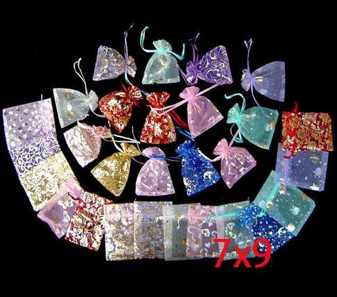 Gift-Bag Flower Jewlery-Packing Chinese Christmas/wedding 7x9cm 100pcs Voile Roses 20color Сумка