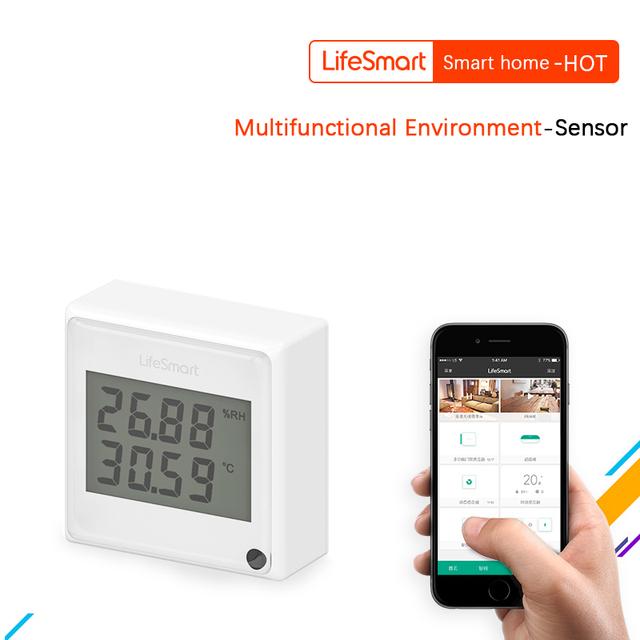 Lifesmart entorno multifuncional-monitor del sensor de temperatura humedad luz teléfono en tiempo real vista by app de control remoto 433 mhz