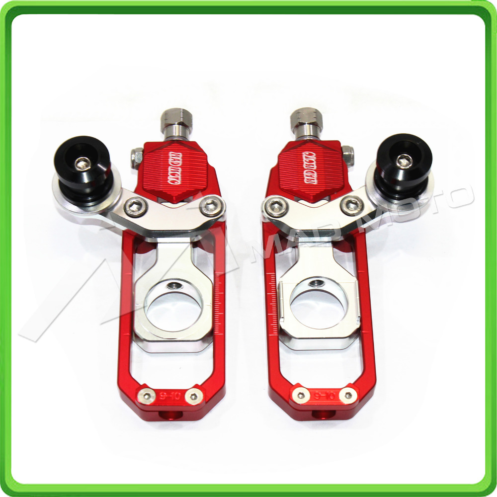 Motorcycle Chain Tensioner Adjuster with bobbins fit for HONDA CBR 600 RR CBR600RR 2005 2006 2007 2008 2009 2010 Red & Silver dwcx motorcycle adjustable chain tensioner bolt on roller motocross for harley honda dirt street bike atv banshee suzuki chopper
