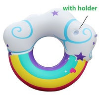 2018 New Inflatable Swim Rings with Cup Holder Rainbow Cloud Swimming Ring Pool Float Adult Water Circle Life Buoy Piscina Hot