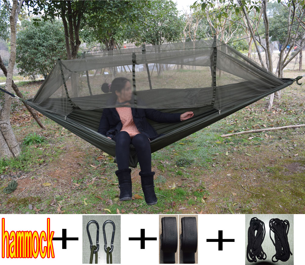 Indoor hammock bed - Hiking Camping Hammock Mosquito Net Parachute Fabric Indoor Outdoor Home Garden Beach Hangmat Backpacking Portable Travel Bed