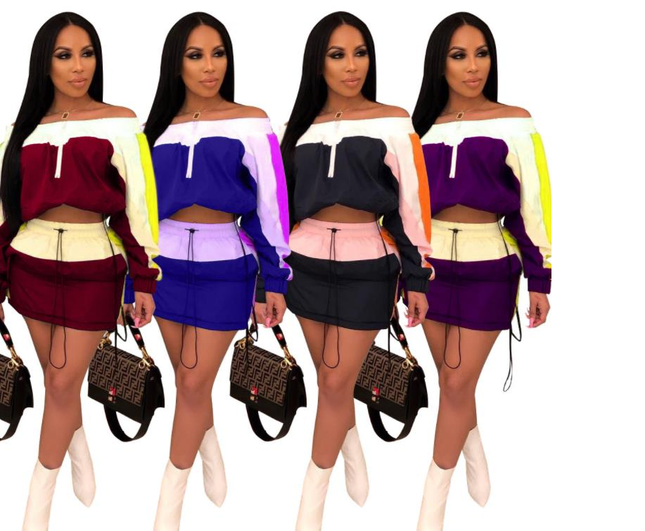 2019 Sporty Women Tracksuit New Off Shoulder Slash Neck Splicing Trench Top Mini Midi Skirts Suit 2pcs Fashion Set Dress A3080