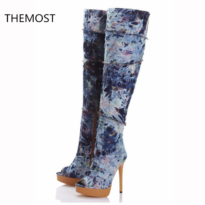 THEMOST High heel boots Women's shoes Denim fabric Fish mouth boots Waterproof Taiwan The European and American style themost sexy fish mouth hollowed out roman sandals fashion foreign trade european and american style four colors can be selected