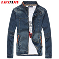 LONMMY Jean jacket military Denim jacket men jaqueta leather spliced men casual jacket coat men clothes Cowboy coats 2016