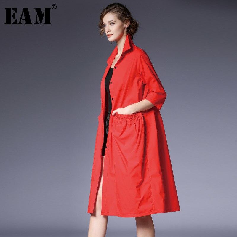 [EAM] 2019 New Spring Summer Lapel Three-quarter Sleeve Black Big Pocket Stitch Loose Windbreaker Women Trench Fashion JL871