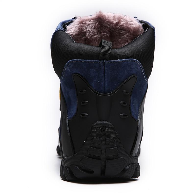 Winter Plush Men Snow Botas Waterproof Leather Suede Warm Plush Winter Lace Up Botas High Top e26270