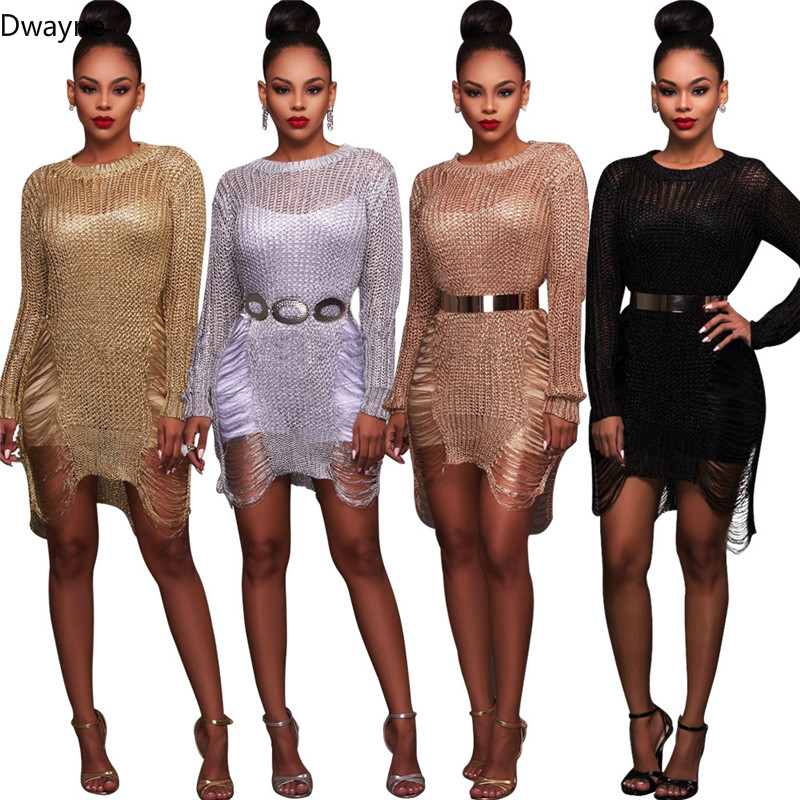 Dwayne Gül Altın Metalik Örgü Kıyılmış Kazak Elbise Seksi Tığ Altın Hollow Out Sheach Elbise Kadınlar Uzun Kollu Elbiseler