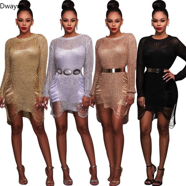 b4fa3b6a078 IASKY Rose Gold Metallic Knit Shredded Sweater Dress Sexy Crochet Gold  Hollow Out Sheach Dress Women