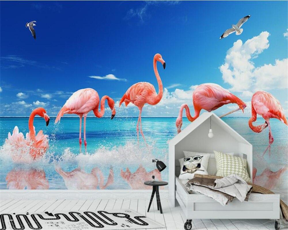 Beibehang Custom Wallpaper HD Modern Modern Simple Small Fresh Flamingo Background Wall Home Decor Background 3D Wallpaper mural in Wallpapers from Home Improvement