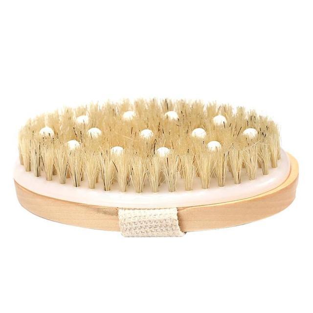 New 2 in 1 Natural Exfoliating Bristle Bath Brush Wooden Body Massage SPA Dry Brush - Bathes Brush Set Bathing Body Brush 3