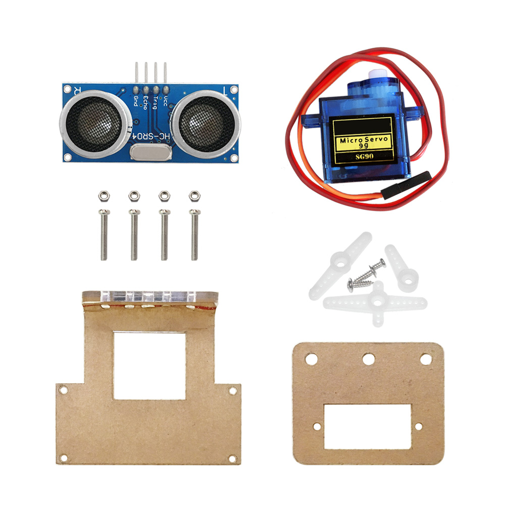 Free shipping! Obstacle avoidance module mounting <font><b>bracket</b></font> kit for <font><b>Arduino</b></font> Robot car/Smart car (include servos, ultrasonic) image