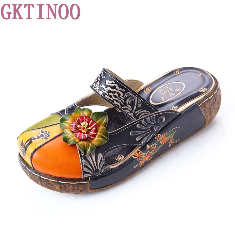 GKTINOO Summer Women's Wedges Sandals Closed Toe Flower Ethnic Style Handmade Genuine Leather Personalized Women Slippers Shoes mmnun 2017 boys sandals genuine leather children sandals closed toe sandals for little and big sport kids summer shoes size26 31