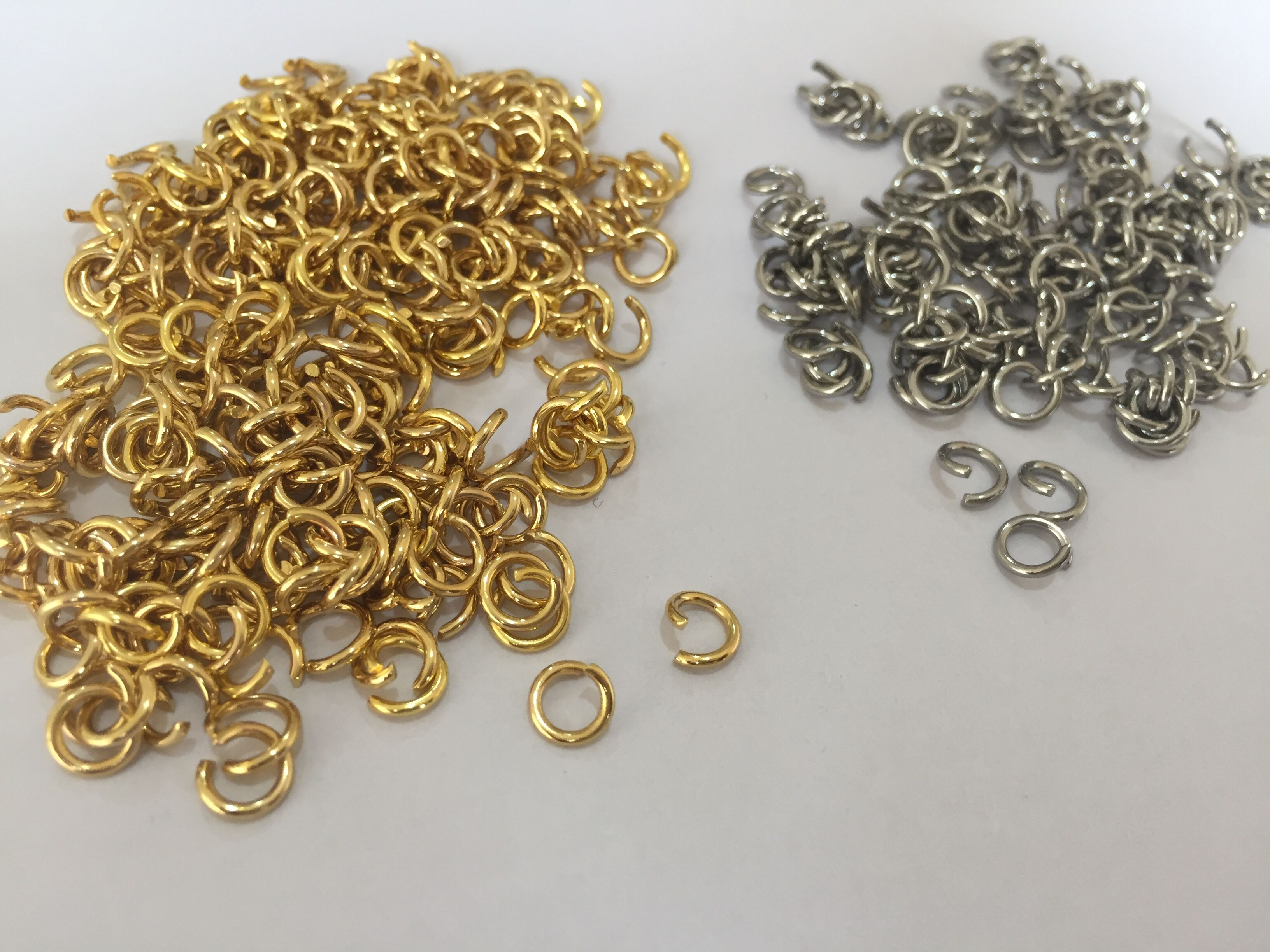 MYLONGINGCHARM 50pcs/lot Jump Rings Jewelry Hand Making Part Gold And Stainless Steel Color 1x6mm