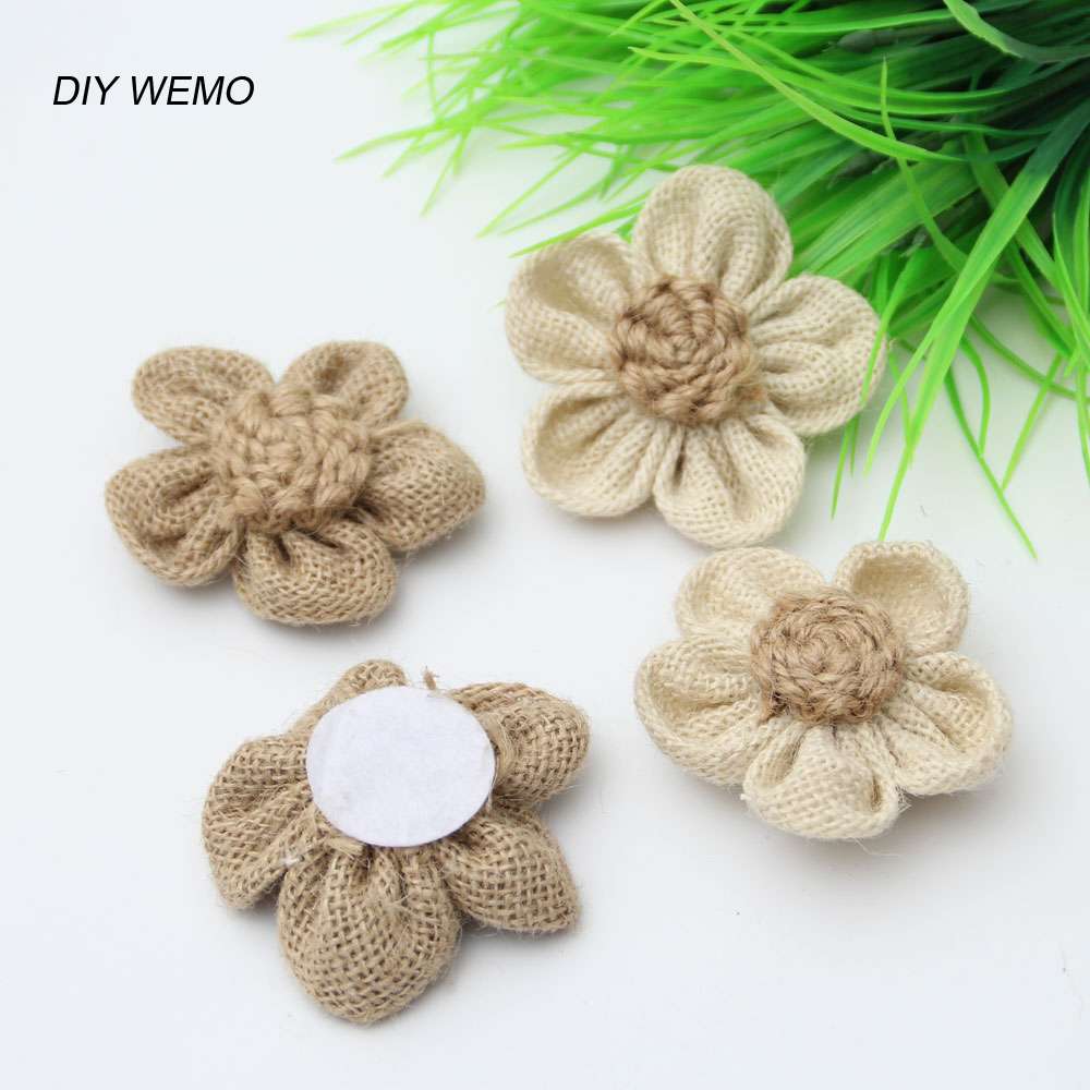 10pcs Jute artificial flowers rose Burlap Rose Vintage Wedding Decor ...