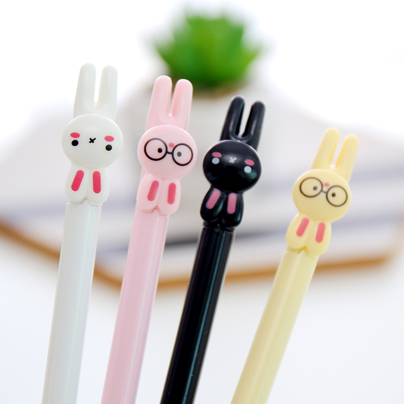 1 Pc Cute Student Kids 0.38mm Cartoon Glasses Rabbit Black Ink Gel Pen Writing School