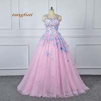 2018 Ball Gown Flowers Appliques Quinceanera Dresses Long 15 Sweet 16 Puffy Quinceanera Gown Prom Party Dresses for 15 Years