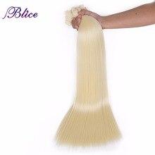 Blice extensiones de cabello sintético 4 piezas / lote 24 pulgadas Yaki pelo liso tejido largo 100g / pieza Todos los colores disponibles