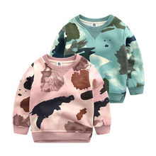 Boy camouflage fleece 2016 new flannelette children's clothing boy qiu dong printing jacket sleeve head thick render unlined