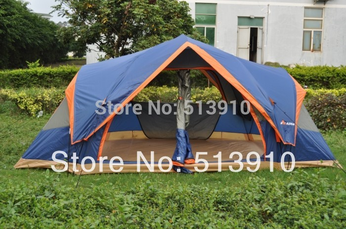 Outdoor big quick open tent!Fully automatic Two hall 6-8 person double layer camping tent/against big wind large family tent 3 4 person outdoor camping tent double layer quick open install tent waterproof 230x210x140cm