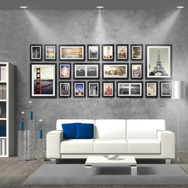 MOLBAB Wood Photo Frame Gallery Wall 20PCS/Set Large Modern Style ...