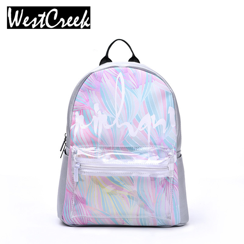 ФОТО Westcreek Brand Female Fashion Holographic Backpack Printing Backbags Waterproof Backbag PU Leather Backpacks Silver Bagpack